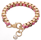 Fashion Simple Style Golden Link Charm Bracelet With Lobster Clasp And White Pearl