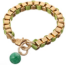 Fashion Simple Style Golden Link Charm Bracelet With Lobster Clasp And Round Green Jade