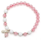 Lovely Simple Style Single Strand Round Rose Quartz Elastic Bracelet with White Sea Shell and 925 Sterling Silver Peanut Accessory under $ 40
