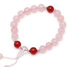 Lovely Single Strand Round Rose Quartz Elastic Bracelet with Carnelian and Clear Crystal Prayer Beads under $ 40