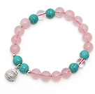 Lovely Single Strand Round Rose Quartz Stretchy Bracelet with Turquoise Ctystal and Sterling Silver Lucky Bag under $ 40