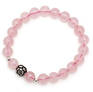 Lovely Simple Style Single Strand Round Rose Quartz Stretchy Bracelet with 925 Sterling Silver Lotus under $ 40