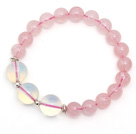 Lovely Style Single Strand Round Rose Quartz Elastic Bracelet with Round Opal and Sterling Silver Beads under $ 40