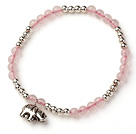 Lovely Style Single Strand Round Rose Quartz and Silver Beads Bracelet with 925 Sterling Silver Elephant Accessory