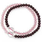 Lovely Two Strands 4mm Round Garnet and Rose Quartz Beads Bracelet with Clear Crystal Beads