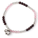 Charming Simple Style Round Garnet and Rose Quartz and Sterling Silver Beads Bracelet with 925 Sterling Silver Elephant under $ 40