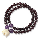 Charming Two Strands Round Garnet Beads Bracelet with Amethyst Beads and Elephant Accessory