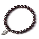 Charming Simple Style 7mm Round Garnet Beads Bracelet with 925 Sterling Silver Leaf Accessory under $ 40