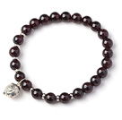 Charming Simple Style 7mm Round Garnet Beads Bracelet with Sterling Silver Pig Accessory