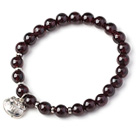Charming Simple Style 7mm Round Garnet Beads Bracelet with Sterling Silver Lock Accessory under $ 40