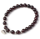 Charming Simple Style 7mm Round Garnet Beads Bracelet with 925 Sterling Silver Lotus Seedpod