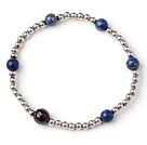 Simple Style Single Strand Round Lapis and Garnet and Sterling Silver Beads Bracelet