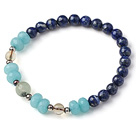 Trendy Single Strand Round Lapis Beads Bracelet with Blue Jade Citrine and Prehnit