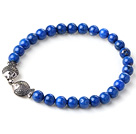 Cute Single Strand 6mm Round Lapis Beads Bracelet with Sterling Silver Double Kissing Fish Accessory