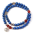 New Popular Two Strands Round Lapis Beads Bracelet with Rutilated Quartz Carnelian Beads and Sterling Silver Lucky Bag