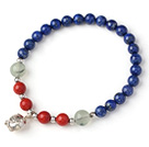 Cute Single Strand Round Lapis Beads Bracelet with Prehnit Coral and 925 Sterling Silver Pig Accessory