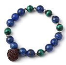 Trendy Single Strand Round Lapis Beads Bracelet with Malachite Beads and Red Sandalwood Lotus Seedpod
