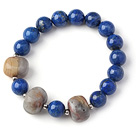 Trendy Single Strand Round Lapis Beads Bracelet with Crazy Lace Agate Beads