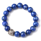 Trendy Single Strand 12mm Round Lapis Beads Bracelet with Sterling Silver Pixiu Accessory