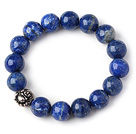 Trendy Single Strand 12mm Round Lapis Beads with Thai Silver Buddha Accessory