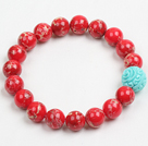 Summer Beach Jewelry 10Mm Red Imperial Jasper Stone Beaded Elastic/ Stretch Bracelet