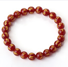 8mm Single Strand Round Red Chalcedony Beaded Stretchy Bracelet with Printed Words