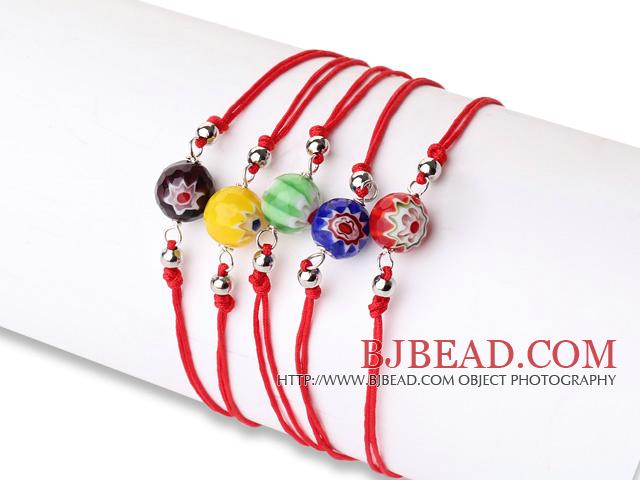 Simple Design Lovely 5 pcs Faceted Eye Glaze Beads Bracelet with Adjustable String