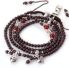 New Amazing Multi Layer Round Garnet Beaded Bracelet with Heart Charm and Love Letter(can also be as necklace)