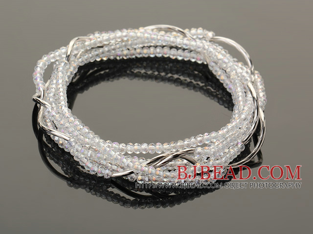 Summer Lovely Handmade Multi Strands Mini Clear Crystal Beads Bracelet