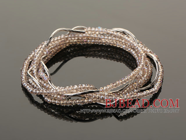 Summer Lovely Handmade Multi Strands Mini Pink Crystal Beads Bracelet