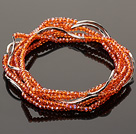 Summer Lovely Handmade Multi Strands Mini Orange Crystal Beads Bracelet