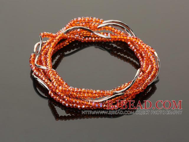 Summer Lovely Handmade Multi Strands Mini Orange Crystal Beads Bracelet