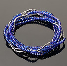 Summer Lovely Handmade Multi Strands Mini Blue Crystal Beads Bracelet under $ 40