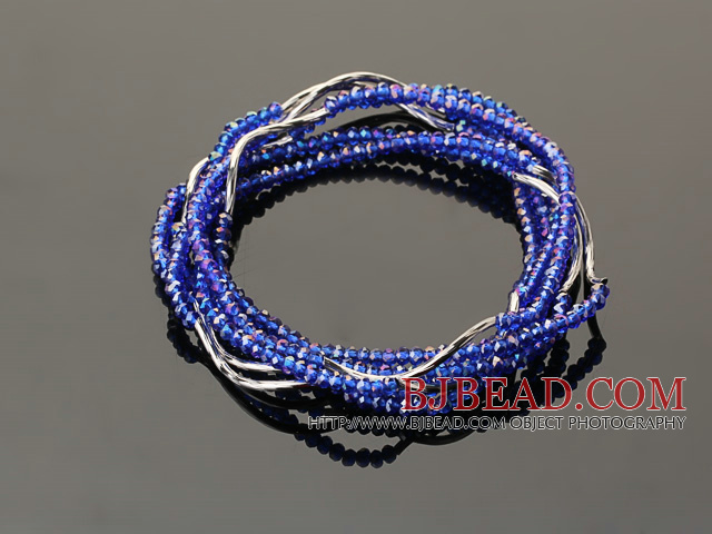 Summer Lovely Handmade Multi Strands Mini Blue Crystal Beads Bracelet