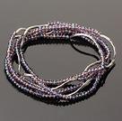 Summer Lovely Handmade Multi Strands Mini Purple Crystal Beads Bracelet