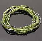 Summer Lovely Handmade Multi Strands Mini Green Crystal Beads Bracelet