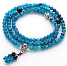 Trendy Beautiful 108 Faceted Light Blue Agate Beads Rosary/Prayer Bracelet with Black Agate and Sterling Silver Beads Accessory under $ 40