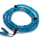 Trendy Beautiful 108 Faceted Blue Agate Beads Rosary/Prayer Bracelet with Black Agate and Sterling Silver Beads