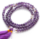 Trendy Multi Layer Round Amethyst Beads Bracelet with Clear Crystal Beads and Purple Tassel(can also be worn as necklace)