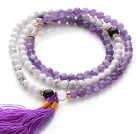 Trendy Multi Layer Round Howlite and Amethyst Beads Bracelet with Tassel(can also be worn as necklace) under $ 40