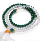 Amazing Round Green Agate and Clear Crystal Beads Rosary/Prayer Bracelet with White Tassel(can also be worn as necklace)