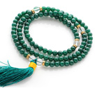Amazing Round Green Agate Beads Rosary/Prayer Bracelet with Clear Ctystal Beads and Tassel(can also be worn as necklace)