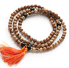 Amazing Round Picture Jasper Beads Rosary/Prayer Bracelet with Black Agate Beads and Tassel(can also be worn as necklace)