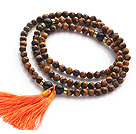 Amazing Faceted Tiger Eye Beads Rosary/Prayer Bracelet with Black Agate Beads and Tassel(can also be worn as necklace)