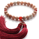 Newly Fashion Single Strand Round Sunstone and Carnelian Holding Prayer Beads with Red Tassel