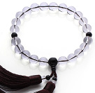 Newly Fashion Single Strand Natural Round Clear Crystal and Black Agate Holding Prayer Beads with Brown Tassel under $ 40