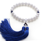 Newly Fashion Single Strand Round White Sea Shell and Lapis Holding Prayer Beads with Blue Tassel