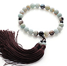Newly Fashion Single Strand Round Amazon Stone and Black Agate Holding Prayer Beads with Brown Tassel
