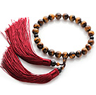 Nieuw Fashion Single Strand Ronde Tiger Eye en Zwarte Agaat Holding gebed kralen met Red Tassel