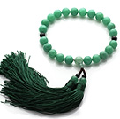 Newly Fashion Single Strand Round Aventurine and Black Agate Holding Prayer Beads with Green Tassel